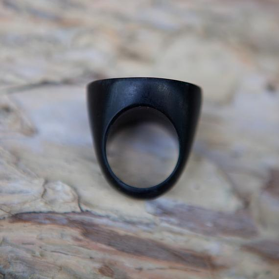 Resin Round Ring - Black - designed in Australia by mooku