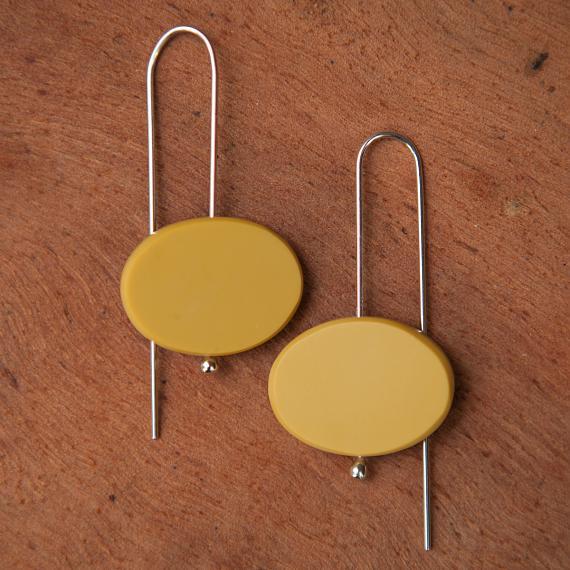 Oval Earrings - Resin - Mustard - designed in Australia by mooku