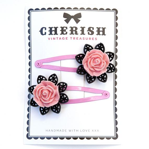 Pink & Black Rose Hair Clips by Cherish Vintage Treasures