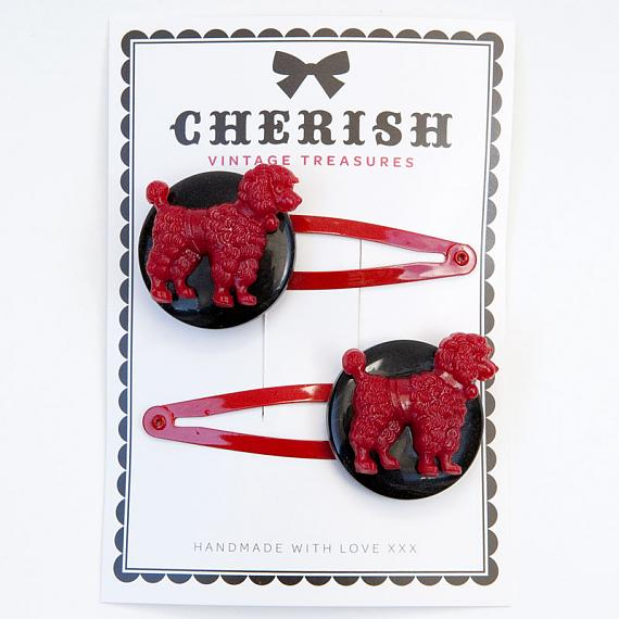 Red & Black Poodle Hair Clips by Cherish Vintage Treasures