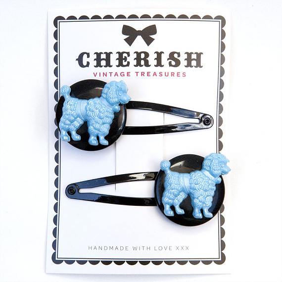 Metallic Blue & Black Poodle Hair Clips by Cherish Vintage Treasures