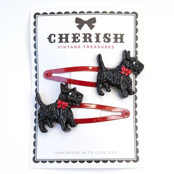 Black Scotty Dog Hair Clips by Cherish Vintage Treasures