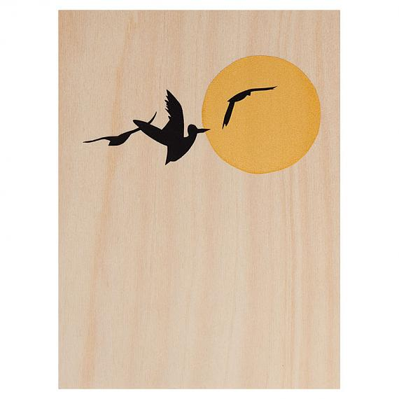 Three Birds Print on Ply Gold and Black by me and amber