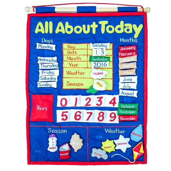 All About Today Calendar - Soft Felt Wall Hanging - designed in Australia by Growing World