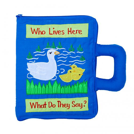 Who Lives Here Blue Soft Book Bag - designed in Australia by Growing World