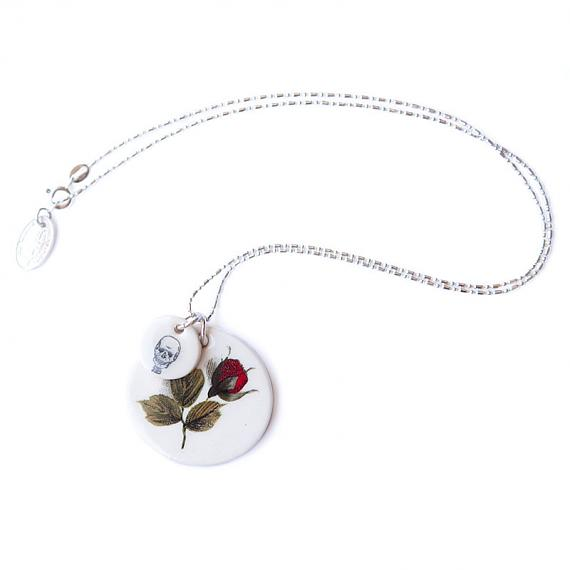 Red Rose and Skull Necklace by Iggy and Lou Lou