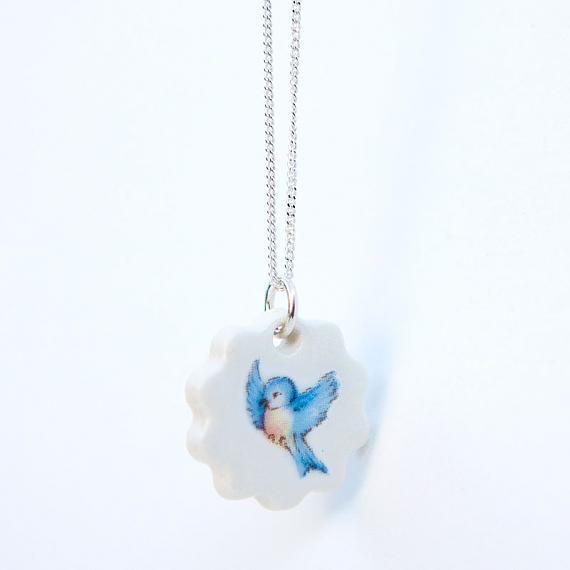 Blue Bird Porcelain Pendant by Iggy and Lou Lou