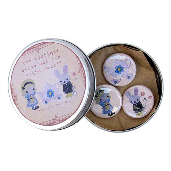 Alice and Rabbit Badges in Tin by Bob Boutique