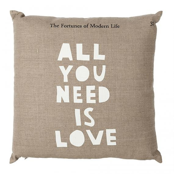 All You Need Is Love Cushion - Dark Natural, handmade in Australia by me and amber