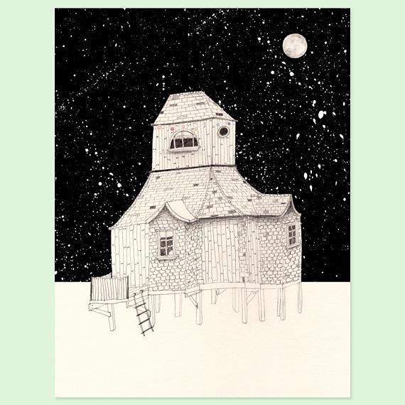 Night House A4 Print by Amy Borrell