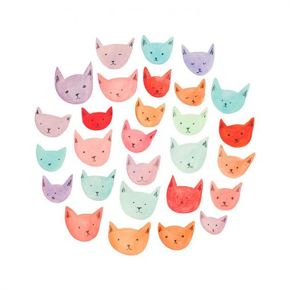 Cats A4 Print by Amy Borrell
