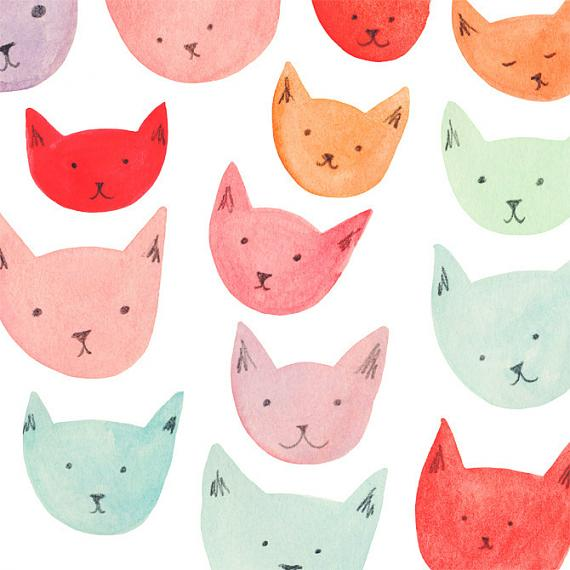 Detail from Cats A4 Print by Amy Borrell