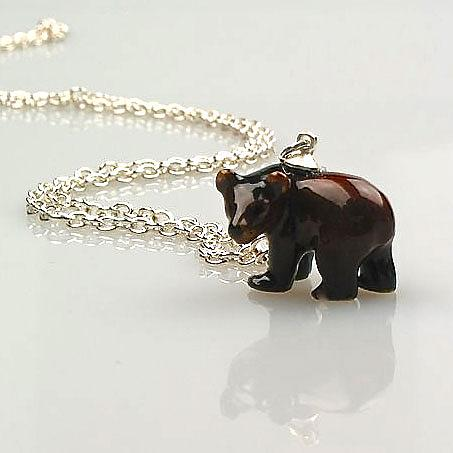 Bear Pendant on Silver Chain by Meow Girl