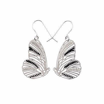 Woven Butterflies Earrings Ebony & Ivory by Polli