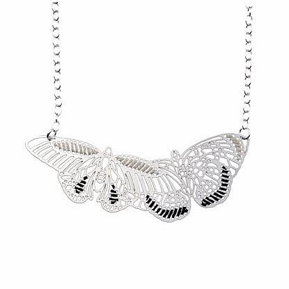 Woven Butterflies Necklace Ebony & Ivory by Polli