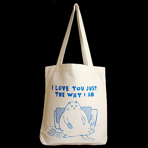Tote Bag - Fat Cat I Love You Just the Way I am - handmade in Melbourne by Able & Game