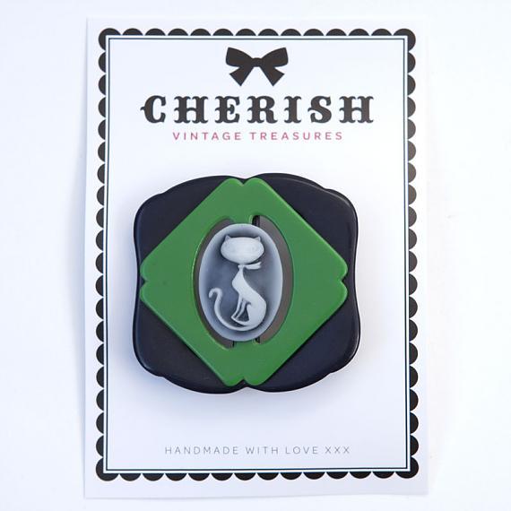 Black & Green Kitty Brooch by Cherish Vintage Treasures
