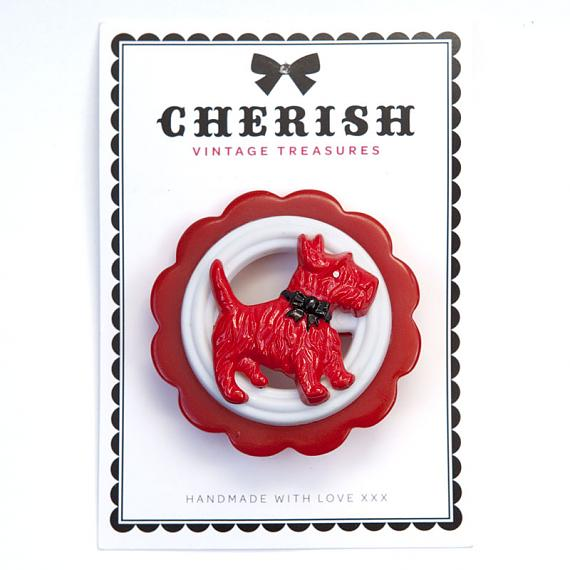 Red Scotty Dog Brooch by Cherish Vintage Treasures