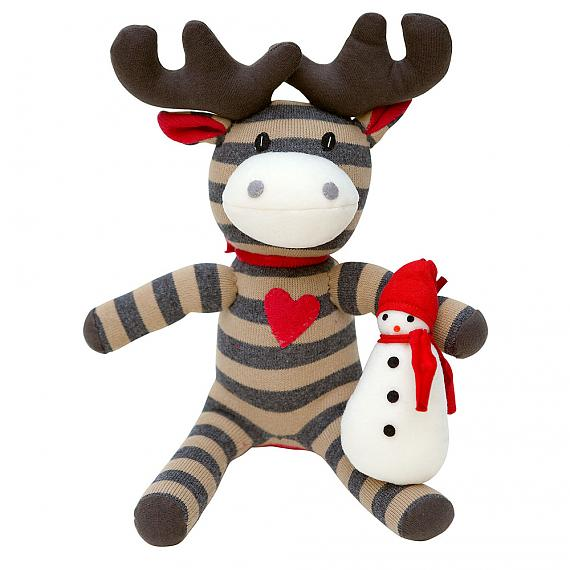 Christmas Moose with Snowman Small designed in Australia by Micky & Stevie