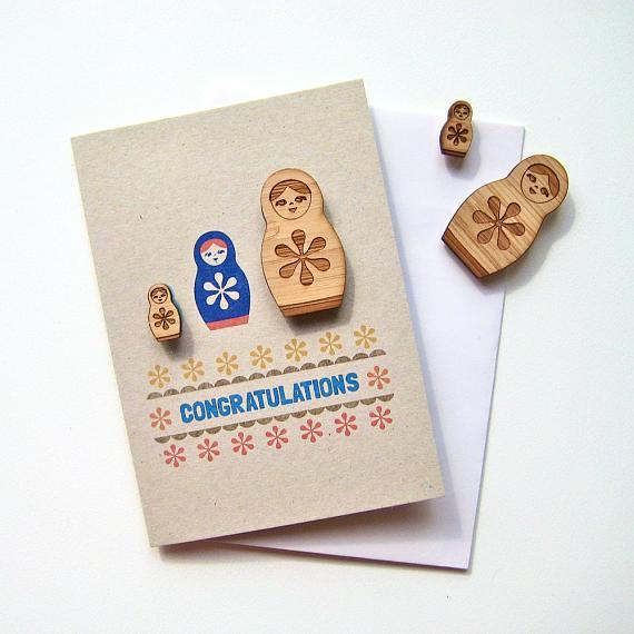 Congratulations Magnet Card Folk Matryoshka by Bird of Play