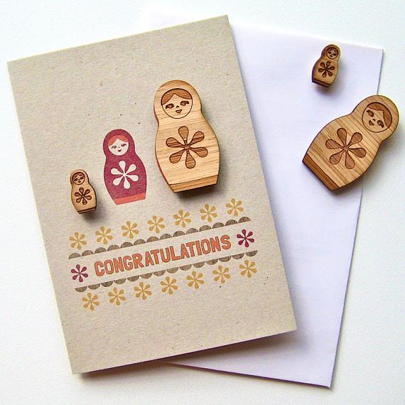 Folk Matryoshka Red Congratulations Magnet Card by Bird of Play