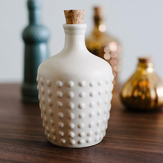 Polka Ceramic Bottle - Cream Matte designed in Australia by Love Hate