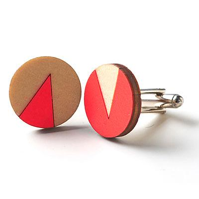 Wooden Flag Cufflinks Neon Blush by Polli