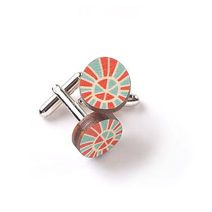 Wooden Zulu Cufflinks - Red & Blue by Polli