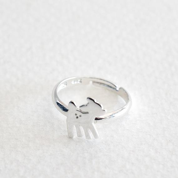 Childrens Ring - Silver Little Bambi Deer - designed in Melbourne by LoveHate