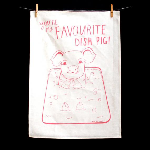 Tea Towel - Favourite Dish Pig - handmade in Melbourne by Able & Game
