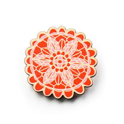 Doily Wooden Brooch - Warm by Polli