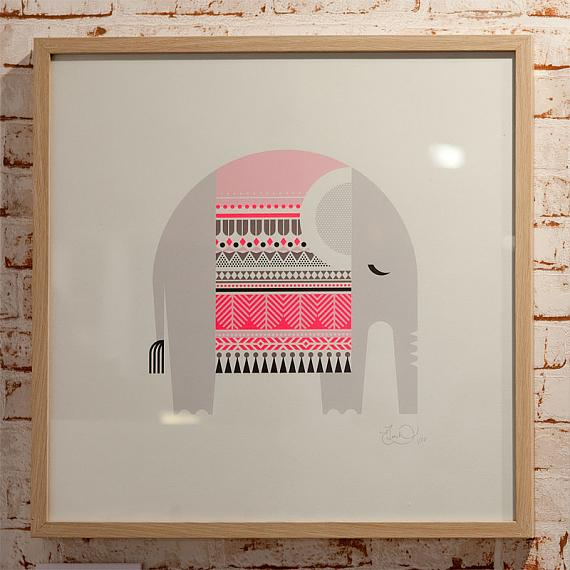 Sleeping Giants - Elephant Limited Edition Screen Print designed and handmade in Australia by Ella Leach Designs