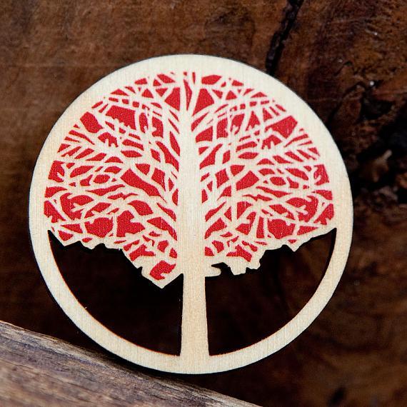 Elm Wooden Brooch - Red
