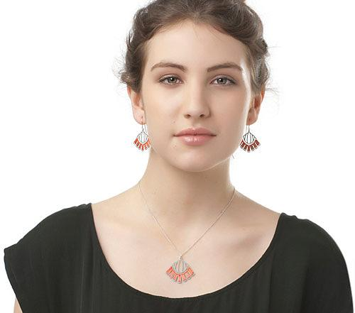 Woven Empire Pendant Coral by Polli