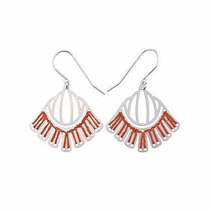Woven Empire Earrings Coral by Polli