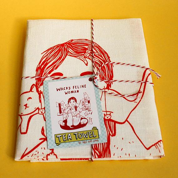 Tea Towel - Wacky Feline Woman - handmade in Melbourne by Able & Game