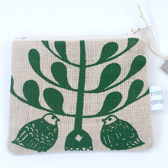 Lovebirds Flat Purse - Green on Natural by Mingus