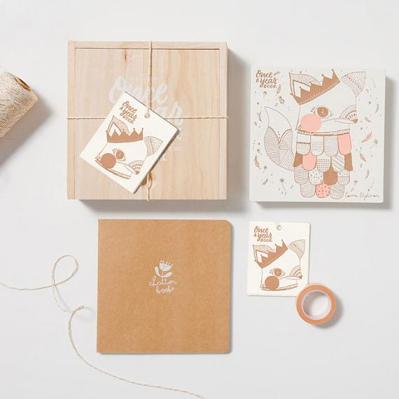 New Baby Journal - Once a Year Photo Book in Wooden Box - Peach Fox - designed in Sydney by Laikonik + Laura Blythman
