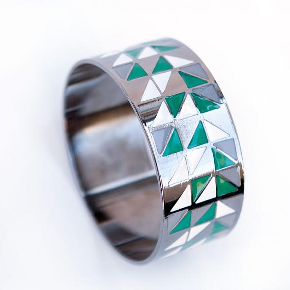 Geometric Bangle Green Indie Art Amp Design