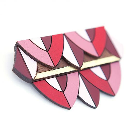 Geometric Brooch Red, Pink & Gold by love hate