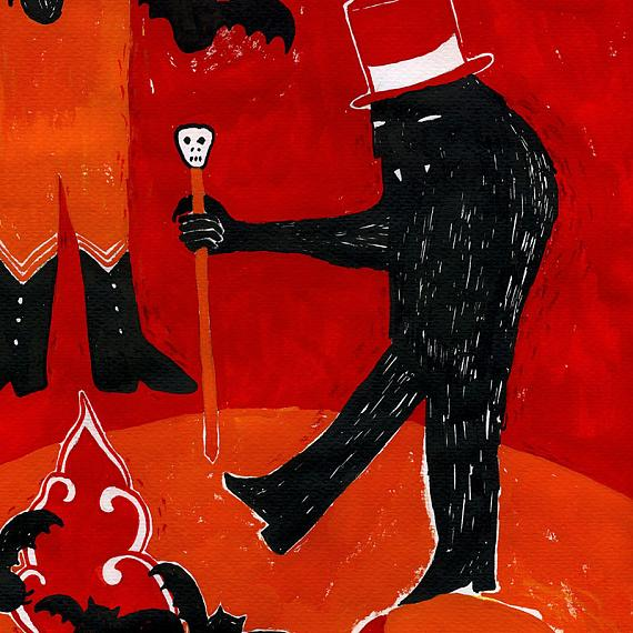 Detail of Ghoul Circus Print by benconservato