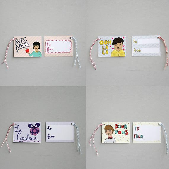 French Set of 8 Gift Tags - made in Melbourne by able and game