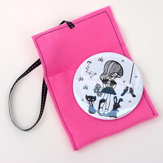 Cute Things White Pocket Mirror by Sonia Brit Designs for Bob Boutique