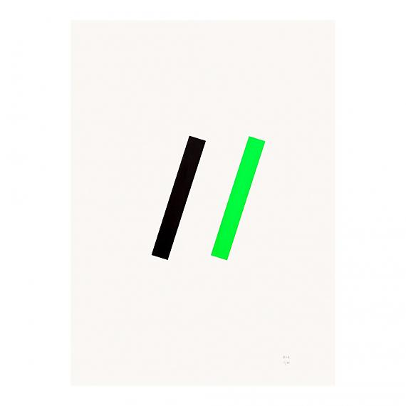 Green Line Neon Geometric Limited Edition Screen Print on Paper handmade in Australia by me and amber