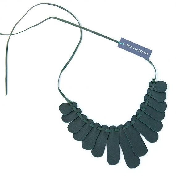 Sensu Recycled Leather Necklace - Dark Green by Mainichi