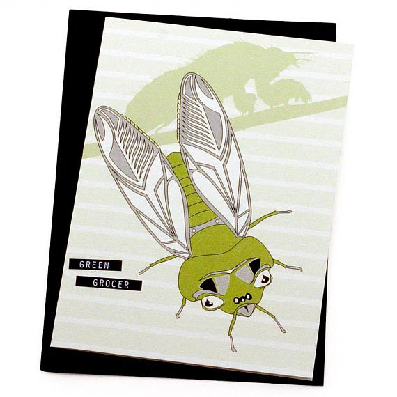 Green Grocer Cicada Greeting Card by Non-Fiction