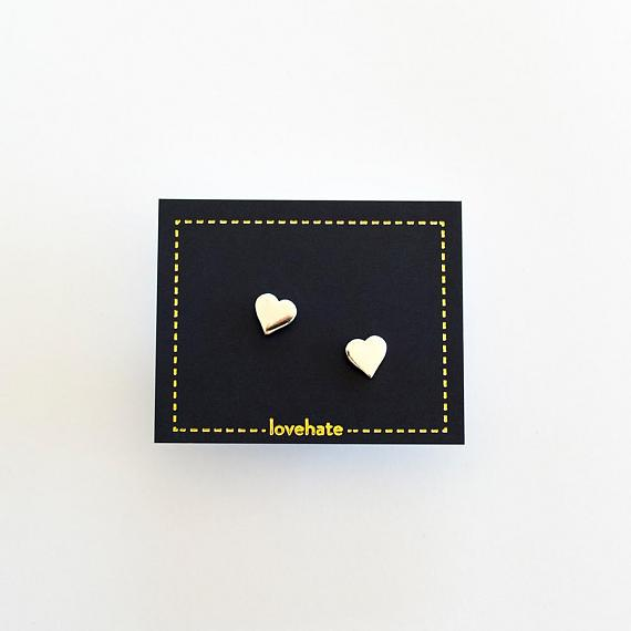 Childrens Stud Earrings - Silver Little Hearts - designed in Melbourne by LoveHate