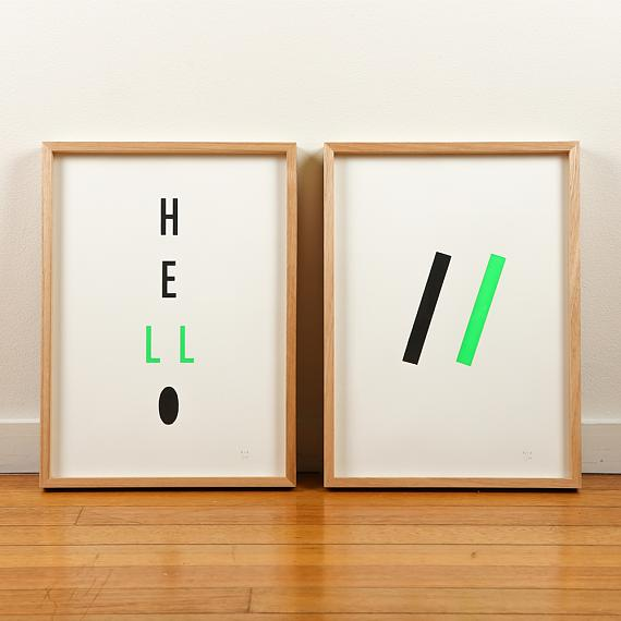 Green Neon Geometric Limited Edition Screen Prints on Paper handmade in Australia by me and amber