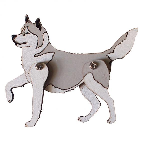 Grey Husky Brooch by Love Hate