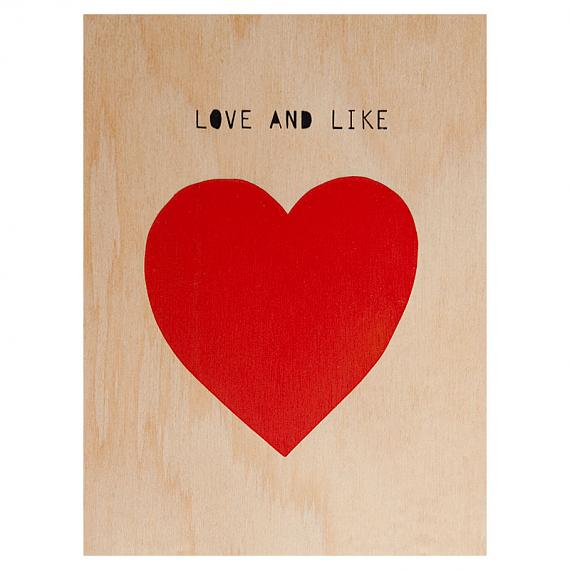 Heart Love and Like Print on Ply Red and Black by me and amber